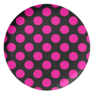 Hot Pink Polka Dots On A Black Background Party Plates