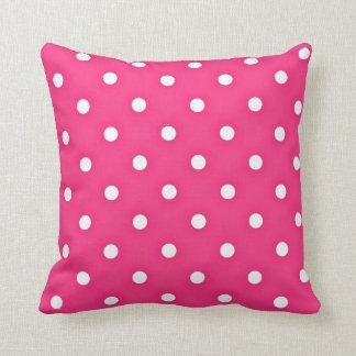 Hot Pink Polka Dots Pattern Cushion
