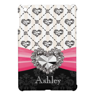 Hot Pink Printed Diamond Look Heart Cover For The iPad Mini