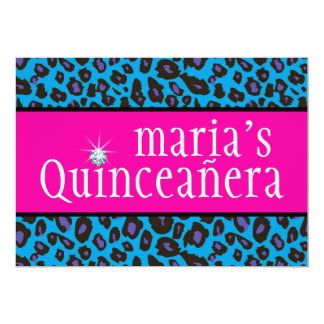 """Hot Pink Purple and Teal Blue Leopard Quinceanera 5"""" X 7"""" Invitation Card"""