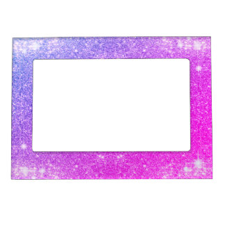 Hot Pink Purple Glitter Sparkle Faux Texture Magnetic Frames