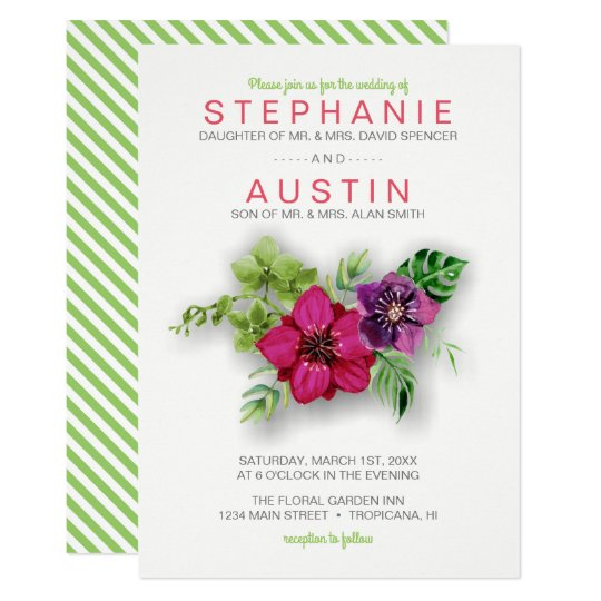 Hot Pink Purple Green Floral Wedding Invitation