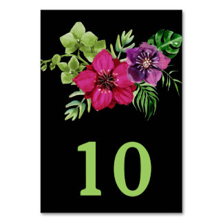 Hot Pink Purple Green Floral Wedding Table Number Table Card