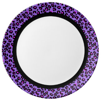 Hot Pink & Purple Leopard with Black Band on White Porcelain Plates