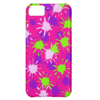 Hot Pink Purple Lime Green Paint Splatters Splotch Case For iPhone 5C