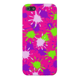 Hot Pink Purple Lime Green Paint Splatters Splotch iPhone 5 Case