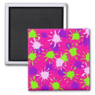 Hot Pink Purple Lime Green Paint Splatters Splotch Fridge Magnet
