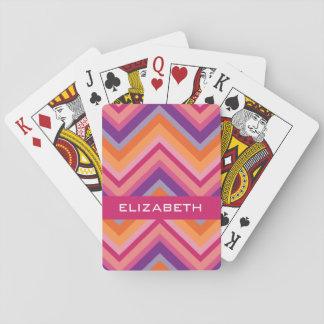 Hot Pink Purple Orange Chevron Pattern Playing Cards