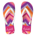 Hot Pink Purple Orange Chevron Pattern Thongs