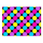 Hot Pink Purple Teal Yellow Black Squares Hexagons Postcard