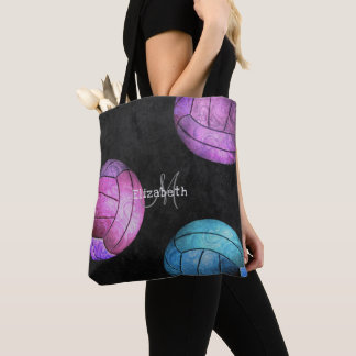hot pink purple turquoise chic women's volleyball tote bag