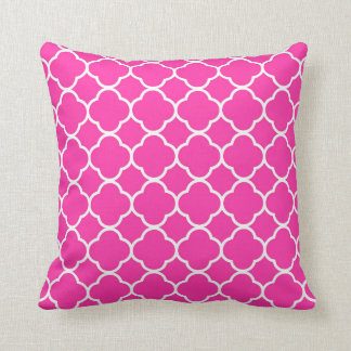Hot Pink Quatrefoil Girly Modern Throw Pillow
