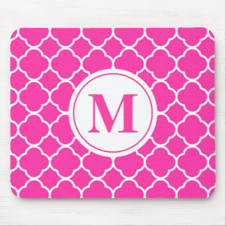Hot Pink Quatrefoil Girly Monogram Mousepad