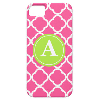 Hot Pink Quatrefoil Lime Monogram iPhone 5 Covers