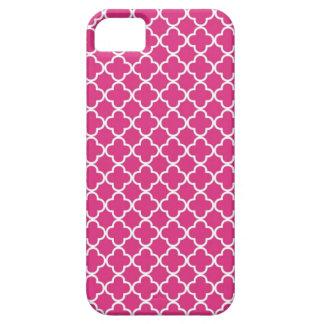 Hot Pink Quatrefoil Pattern iPhone 5 Cases