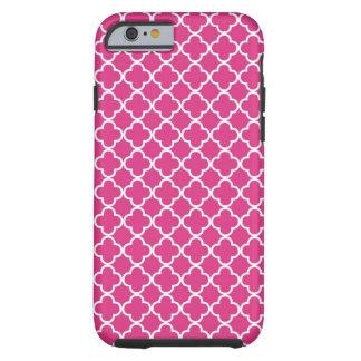 Hot Pink Quatrefoil Pattern Tough iPhone 6 Case