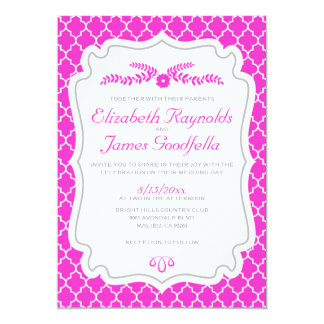 Hot Pink Quatrefoil Wedding Invitations