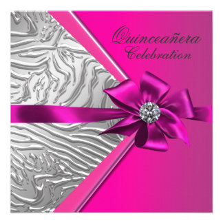 Hot Pink Quinceanera Birthday Party Announcements