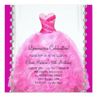 "Hot Pink Quinceanera Invitation 5.25"" Square Invitation Card"