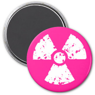 Hot Pink Radioactive sign 7.5 Cm Round Magnet