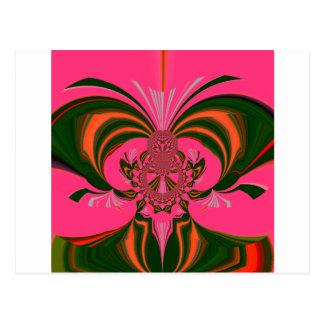 Hot Pink Red Golden Green Postcard