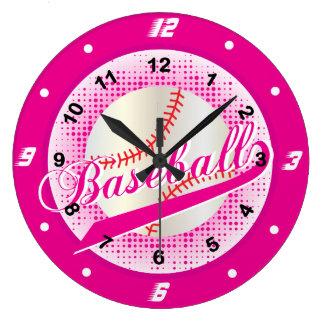 Hot Pink Retro Baseball Style Large Clock