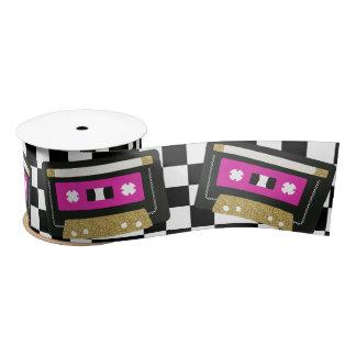 Hot Pink Retro Cassette Mixtape Gift Ribbon Satin Ribbon