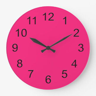 Hot Pink Retro Colorful Modern Solid Color Wall Clocks