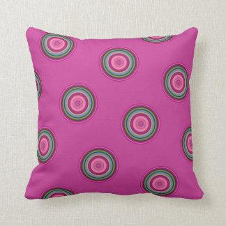 Hot Pink Retro Dots Cushion