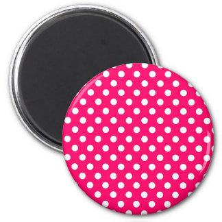 Hot Pink Retro Polka Dots Pattern Magnet
