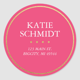 Hot Pink Return Address Label with Faux Gold Foil