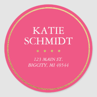 Hot Pink Return Address Label with Faux Gold Foil Round Sticker