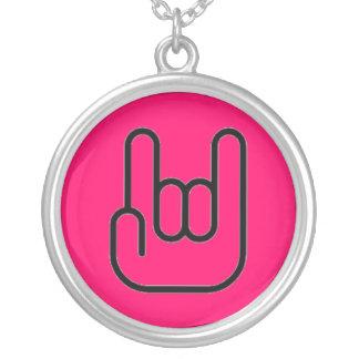 """Hot Pink """"Rock On"""" Devil Horns Custom Necklace"""
