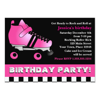 Hot Pink Roller Skate Birthday Party 13 Cm X 18 Cm Invitation Card