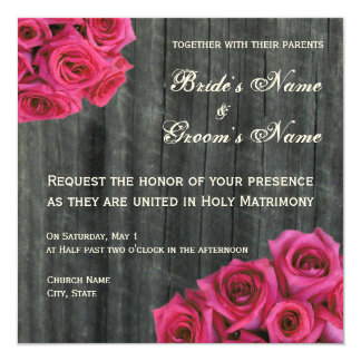 "Hot Pink Rose and Barnwood Wedding Invitation 5.25"" Square Invitation Card"