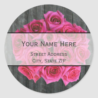 Hot Pink Rose Bouquet & Barnwood Address Label Round Sticker