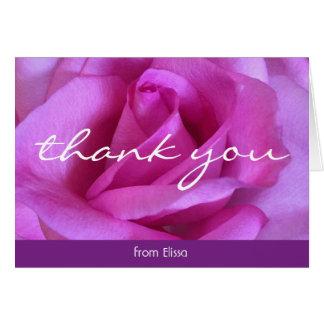 Hot pink rose close-up photo custom name thank you card