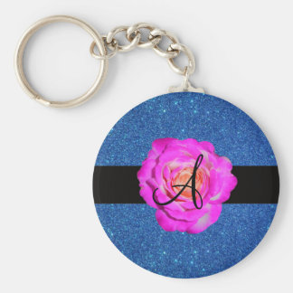 Hot pink rose monogram blue glitter key chain