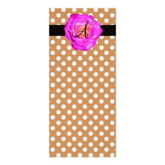 Hot pink rose monogram brown polka dots customised rack card