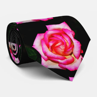 Hot Pink Rose on Black Tie