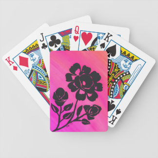 Hot Pink Rose Silhouette Playing Card Deck