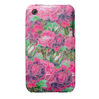 Hot Pink Roses Abstract iPhone 3 Case-Mate Cases