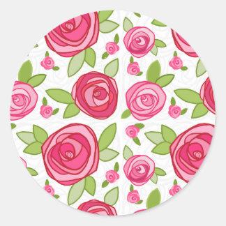 Hot Pink Roses Envelope Seal Sticker