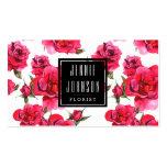 Hot Pink Roses Floral Modern Business Card