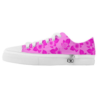 Hot Pink Roses Printed Shoes