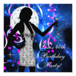 Hot Pink Royal Blue Birthday Party Custom Announcements