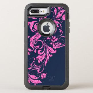 Hot Pink & Royal Blue Floral Lace Glitter Texture OtterBox Defender iPhone 8 Plus/7 Plus Case