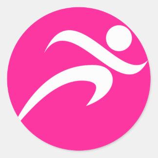 Hot Pink Running; Runner Round Sticker