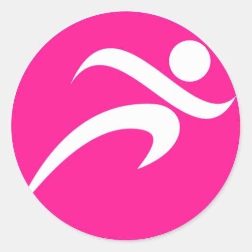 Hot Pink Running; Runner Round Stickers