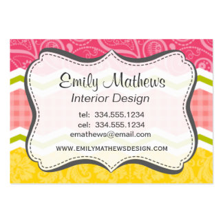 Hot Pink, Salmon, Bright Yellow and Green Cute Business Card